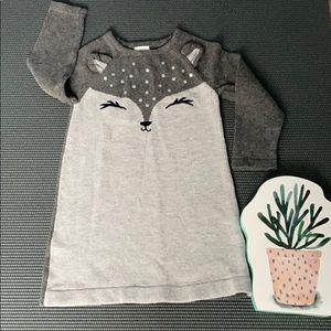 🎀Gymboree toddler gray fox sweater dress🎀